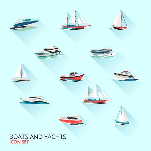 Båtar ikoner uppsättning vektor