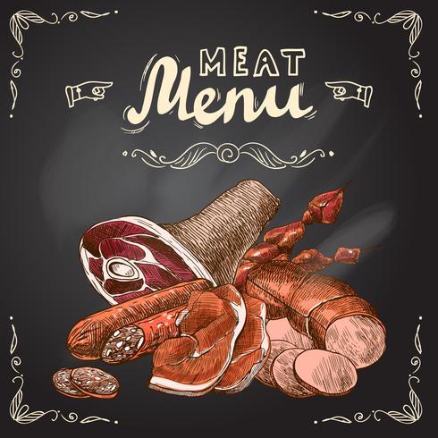 Meat chalkboard poster vector
