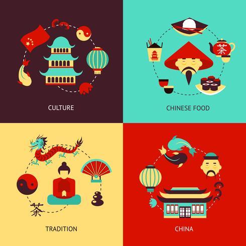 Kina illustration uppsättning