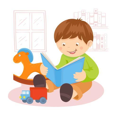 Pojke läsning bok