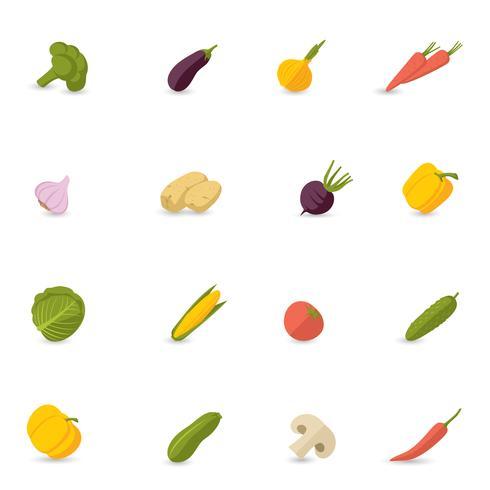 Conjunto de ícones de legumes plana