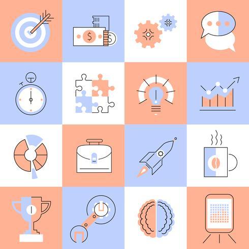 Conjunto de ícones criativos linha plana vetor