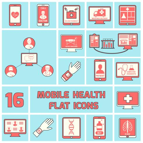 Mobile health icons set flat line vector