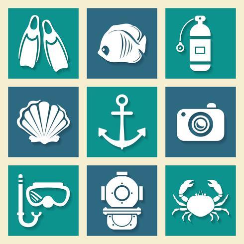 Havsymboler ikoner et vektor