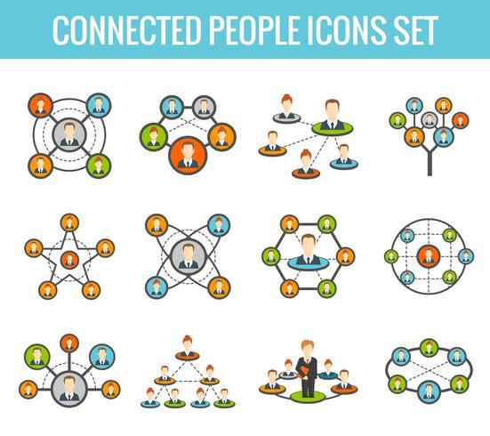 Set di icone piane di persone collegate vettore
