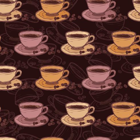 Esboço de café sem costura padrão vetor