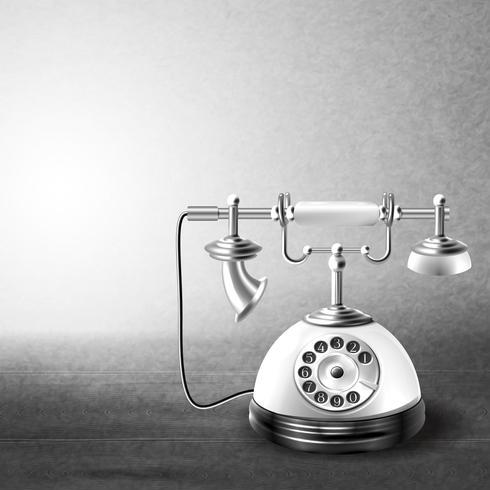 Telefono vecchio bianco e nero vettore