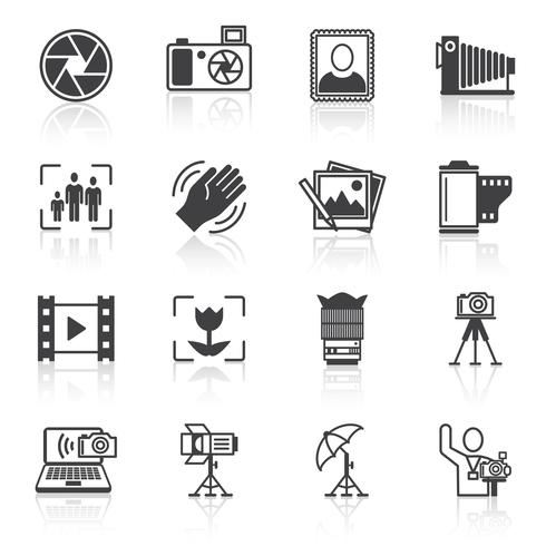 Photography icons black vector