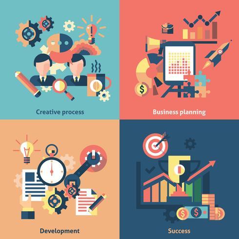 Conjunto de ícones criativos plano