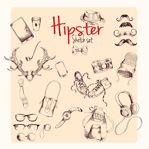 Set di abbozzi hipster vettore