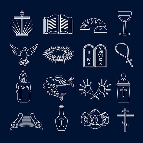 Conjunto de iconos de cristianismo contorno