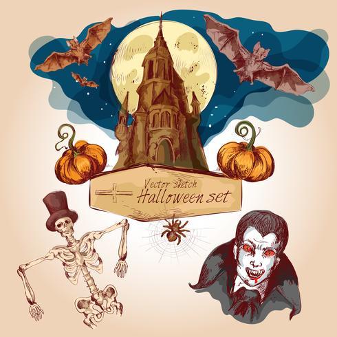 Halloween colored sketch set