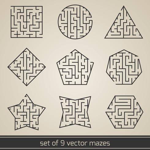 Maze labyrint set vektor