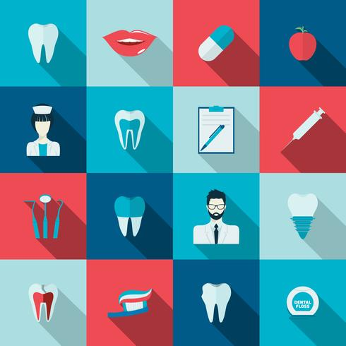 Teeth icons flat vector