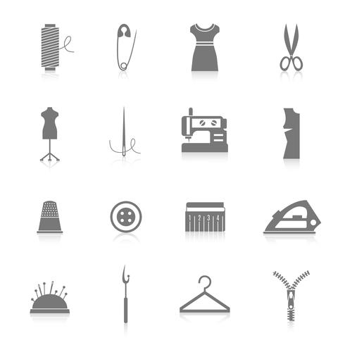 Conjunto de iconos de equipos de costura negro