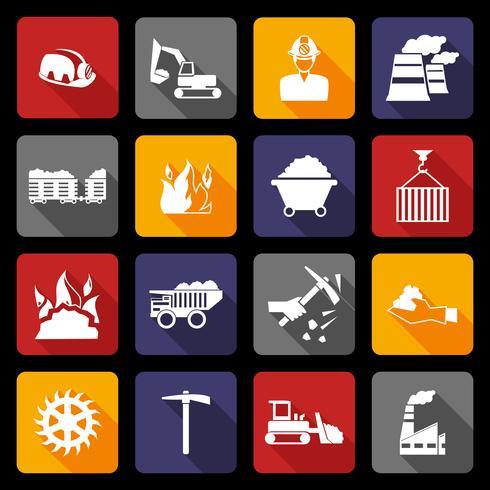 Iconos de la industria del carbón planos vector