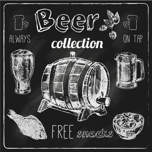 Conjunto de pizarra de iconos de cerveza vector