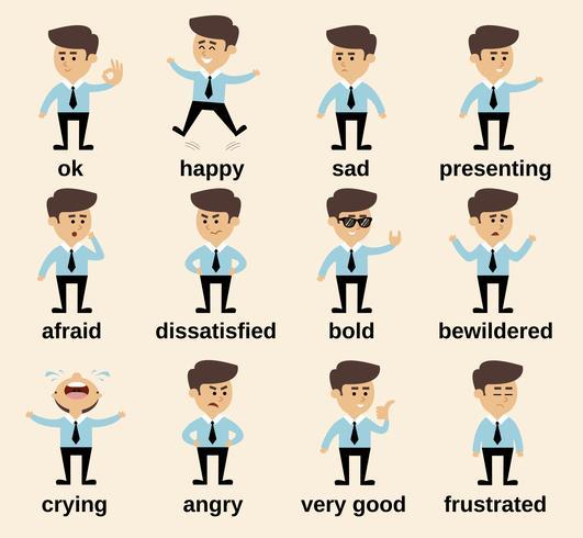 Conjunto de emoções do empresário