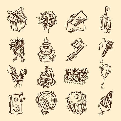Birthday sketch icon set vector