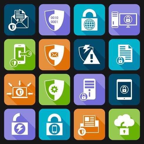 Ícones de segurança de proteção de dados vetor