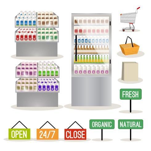 Supermarket shelves set