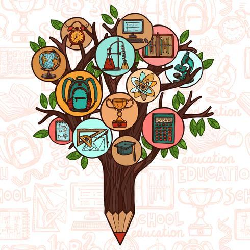 Árbol con iconos de educación