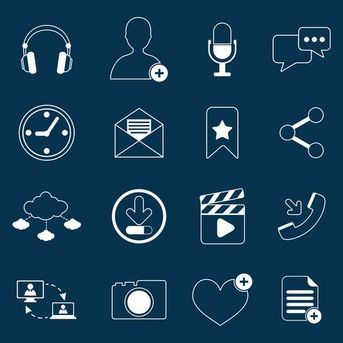 Contour d'icônes de réseaux sociaux vecteur