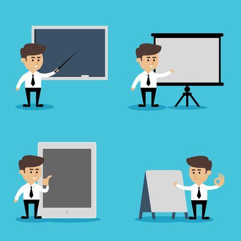 Affärsman presentation uppsättning vektor