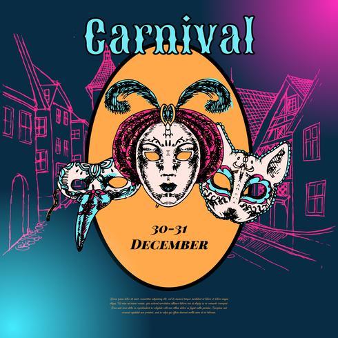 Cartaz de composição de máscara de carnaval veneziano vetor