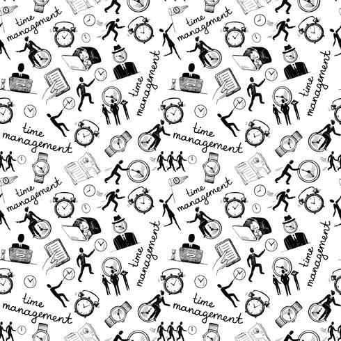 Ícones de gerenciamento de tempo esboçar sem emenda