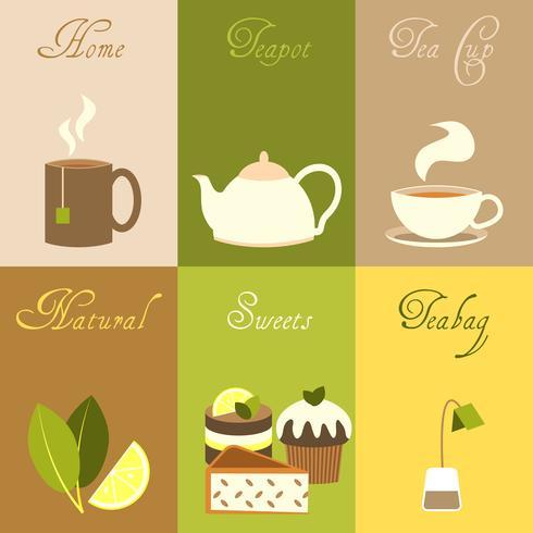 Conjunto de cartazes de chá mini