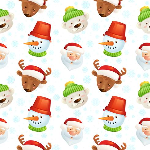 Christmas characters seamless pattern vector