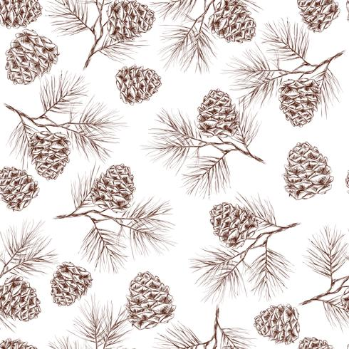 Pine branches seamless pattern vector