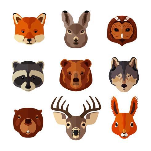 Conjunto de ícones plana de retrato animal