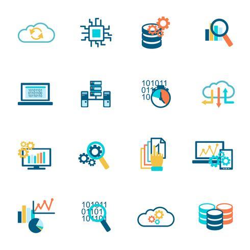 Iconos de analítica de base de datos planos