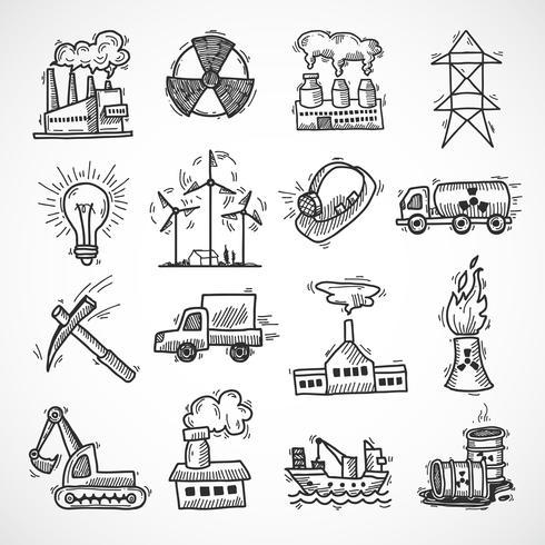 Set di icone di schizzo industriale