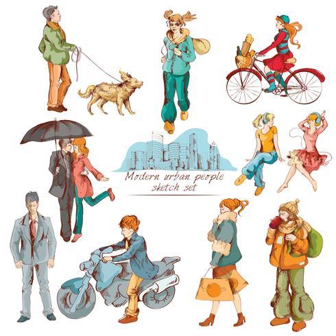 Urban folk skissar färgad