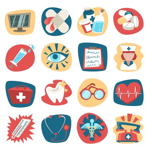 Hospital icons set vector
