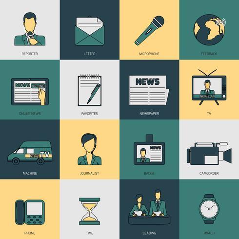 Linha plana de ícones de notícias