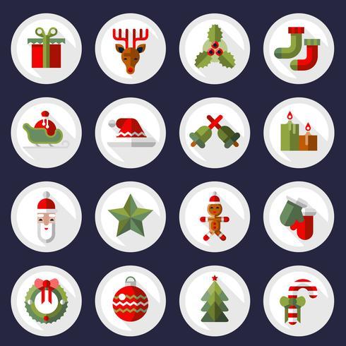Conjunto de botones de iconos de Navidad vector