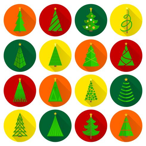 Christmas tree flat round buttons