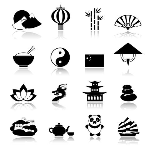 China Icons Set schwarz vektor