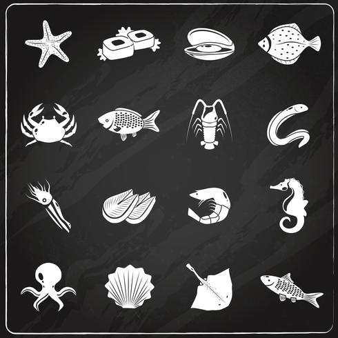 Seafood icons set chalkboard vector