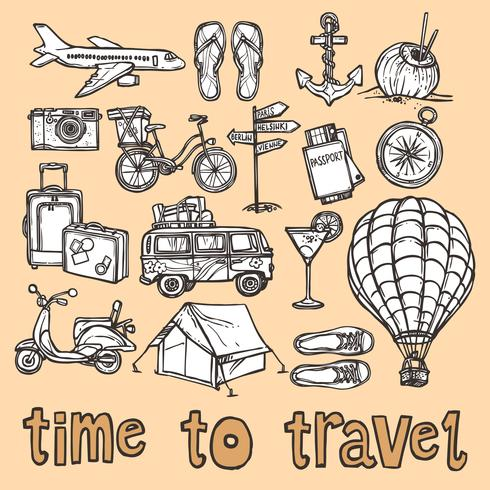 Travel sketch icons set vector
