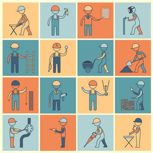 Línea plana de iconos de trabajador de construcción vector