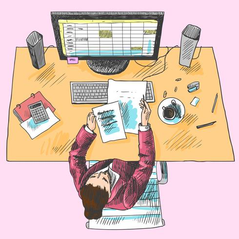 Accountant werkplek gekleurd