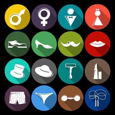 Ícones de gênero definidos como planos vetor