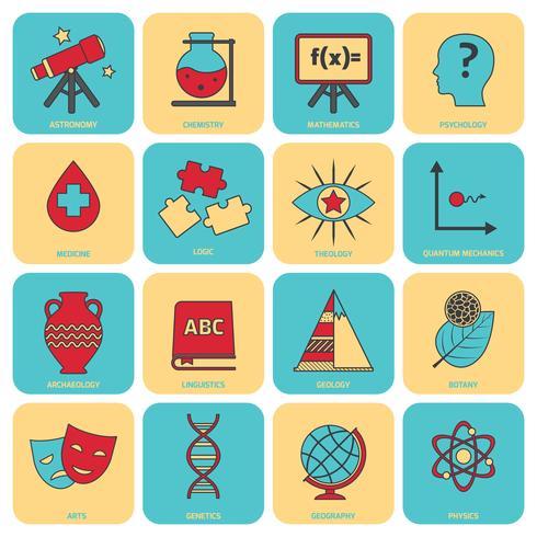 Ligne de plat icônes sciences domaines