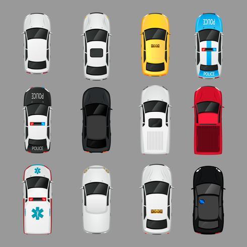 Vista dall'alto di icone di automobili vettore