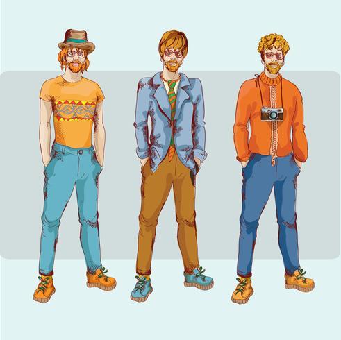 Hipster boy character set vector